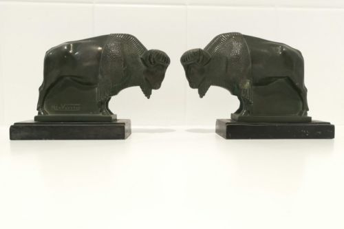 French Art Deco Bison Bookends By Max Le Verrier 1930 Mid Century